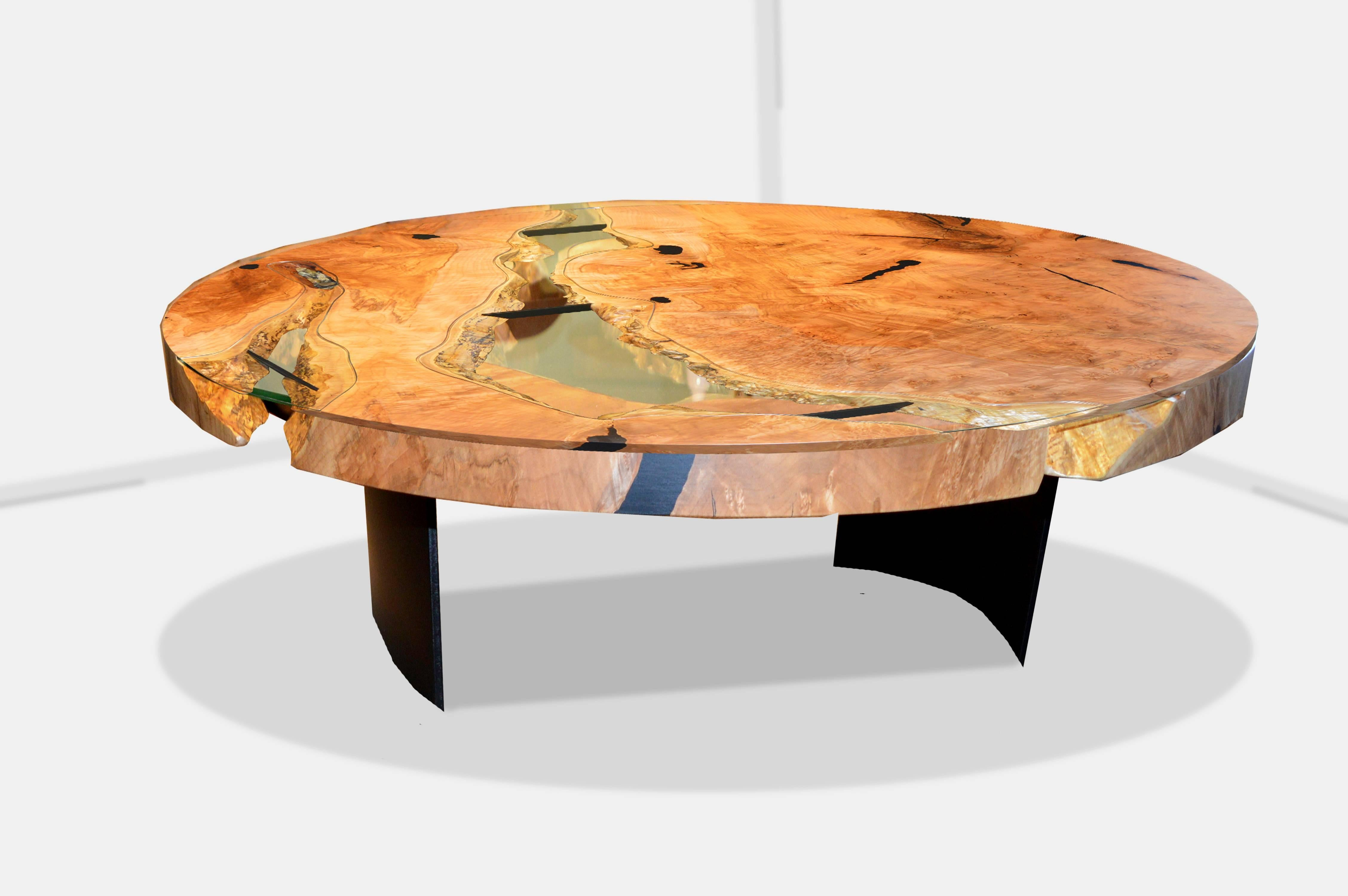 River Coffee Table In Live Edge Maple With Curved Steel Base Black For At 1stdibs