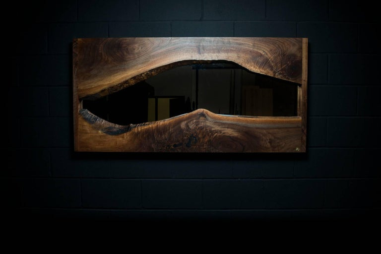 Canadian River Creek Wall Mirror No. IV, by Ambrozia in Live Edge Walnut and Solid Brass For Sale