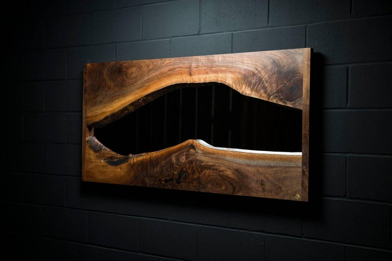 Contemporary River Creek Wall Mirror No. IV, by Ambrozia in Live Edge Walnut and Solid Brass For Sale