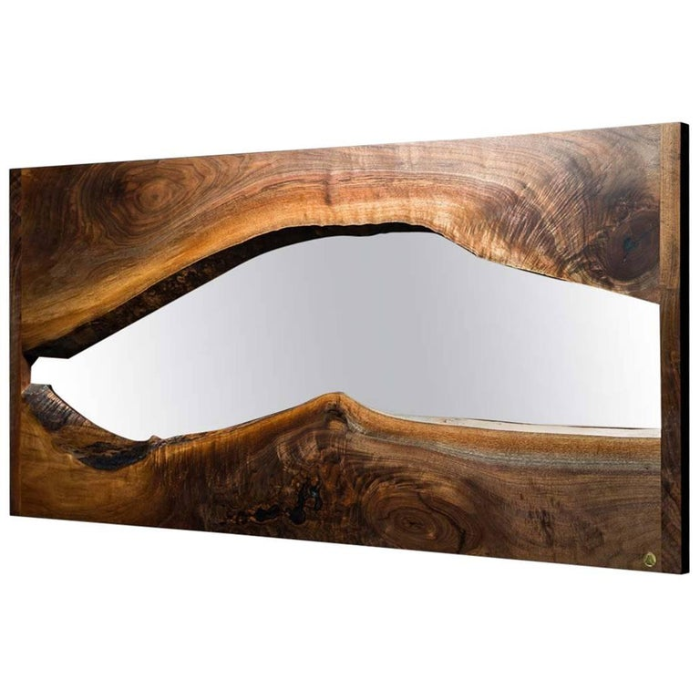 River Creek Wall Mirror No. IV, by Ambrozia in Live Edge Walnut and Solid Brass For Sale