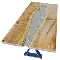 River Gorge Dining Table with Live Edge Top and Steel Base with Rock Feature