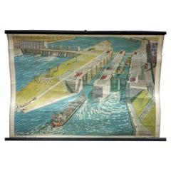 River Lock Maritime Decoration Cottagecore Vintage Rollable Wallchart