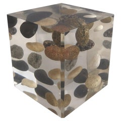 River Rocks in Lucite Cube Paperweight by William Rolfe