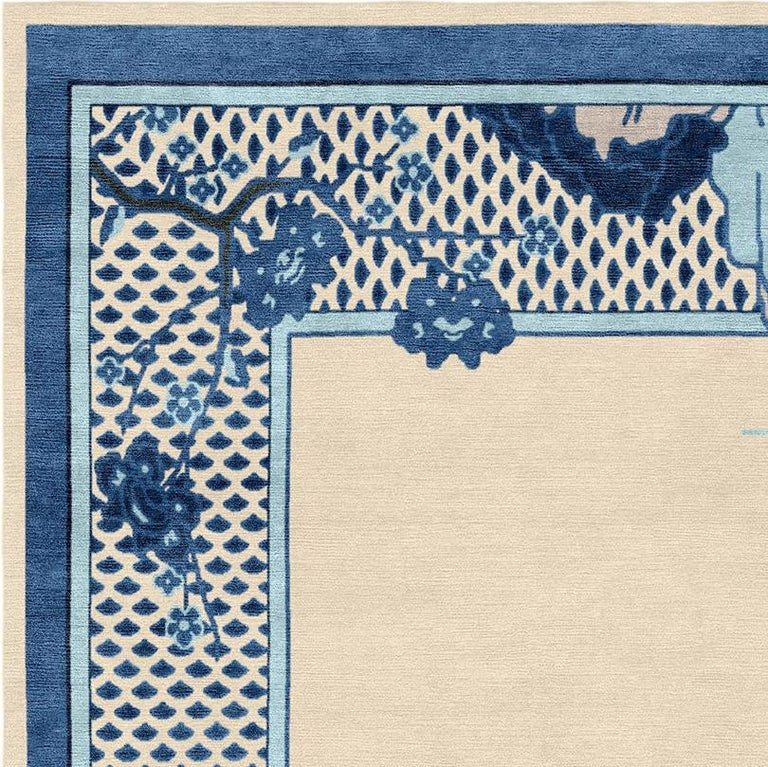 The Chinoiserie collection is inspired by ancient graphics and illustrations of Chinese origin, adapted to fuse seamlessly with a contemporary interior and is made up of fine works of art handcrafted from exquisite silk yarns. The Riverhouse rug in