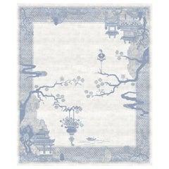 Riverhouse Nebula Silky Weaving - White Blue Bedroom Hand Knotted Wool Silk Rug