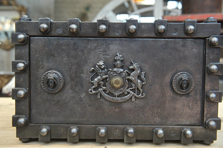 Riveted Iron Safe Box Cabinet by Bauche, France, circa 1900 1