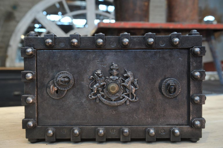 Riveted Iron Safe Box Cabinet by Bauche, France, circa 1900 2
