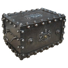 Riveted Iron Safe Box Cabinet by Bauche, France, circa 1900