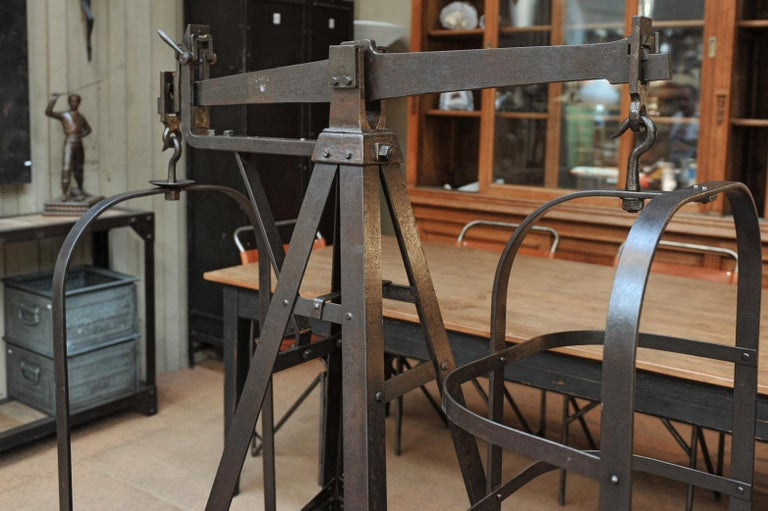 Industrial Riveted Polished Iron Commerce Large Scale by J.Bruyninckx & Fils Bruxelles For Sale
