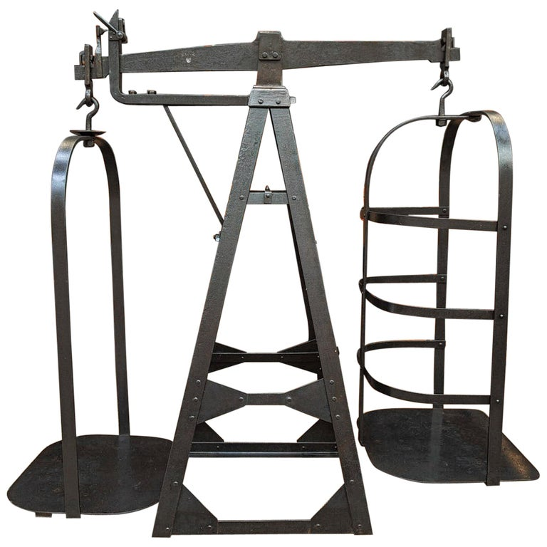 Riveted Polished Iron Commerce Large Scale by J.Bruyninckx & Fils Bruxelles For Sale