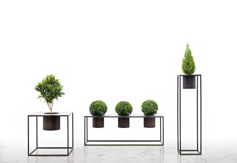 Italian Riviera 1 Plant Burnished Iron Vase Designed by Aldo Cibic For Sale