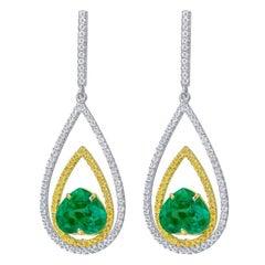 Riviera 2.99 Carat Heart-Cut Emerald Diamond Earrings