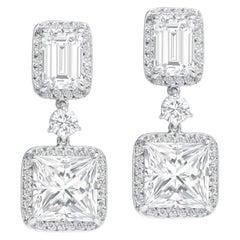 Rivièra Platinum Princess and Emerald Diamond Drop Earrings