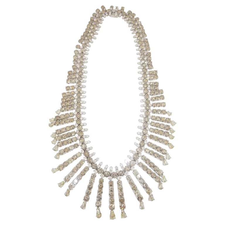 Riviera Style Certified 120 Carat Natural Fancy Color and White Diamond Necklace For Sale