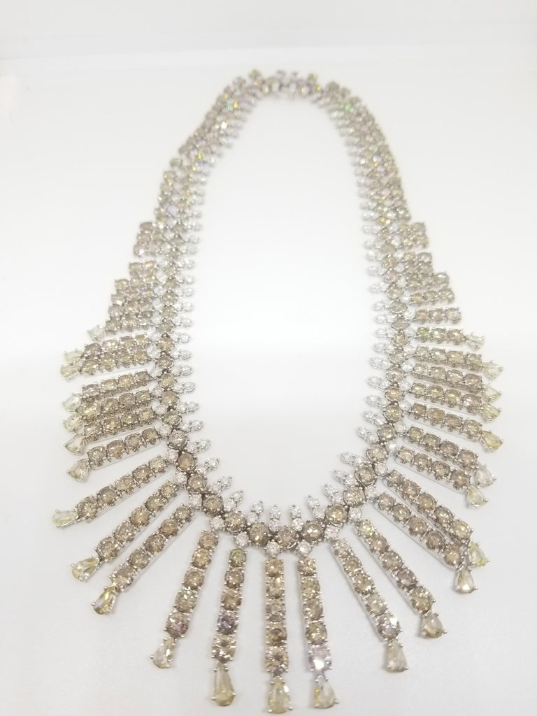 Riviera Style Certified 120 Carat Natural Fancy Color and White Diamond Necklace In New Condition For Sale In New York, NY