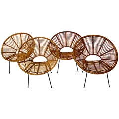 Rattan Metal Vintage Lounge Chair Garden Patio Chair Riviera Style France c 1950