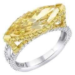 Rivière 2 Carat Fancy Intense Yellow Marquise Diamond Ring, GIA Certified