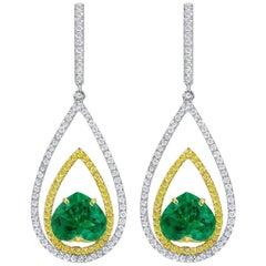 Rivière 2.99 Carat Heart-Shaped Emerald Diamond Earrings