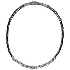 Riviere Brilliant Cut Diamonds Choker Necklace in 18 Karat White Gold