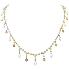 CJ Charles Rivière Briolette Multi-Color Diamond Necklace