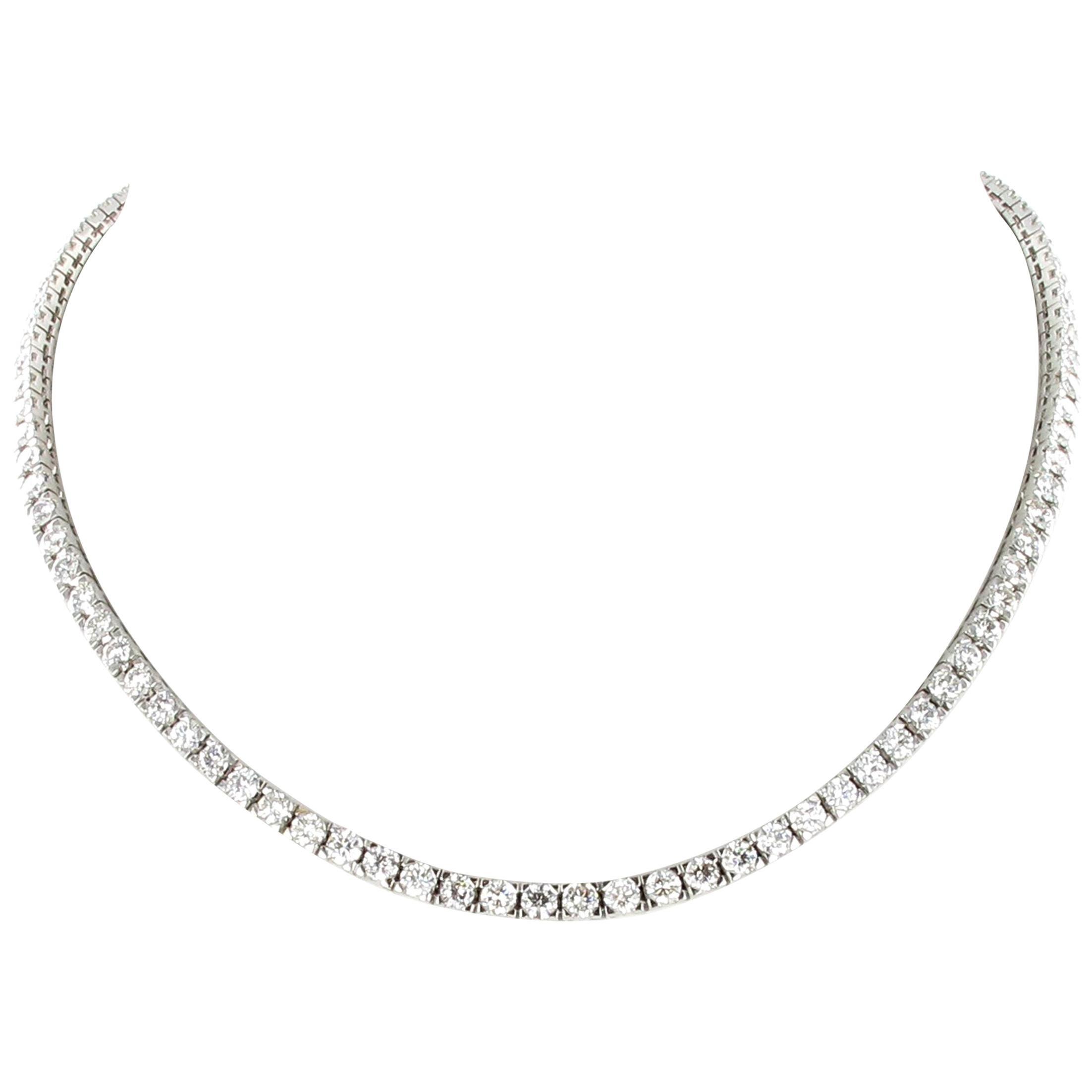 Rivière Diamond Necklace in 18 Karat White Gold