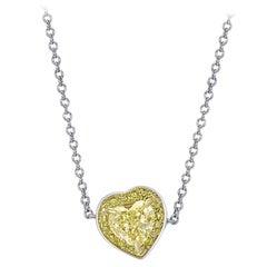 CJ Charles Rivière Fancy Yellow Diamond Heart Necklace