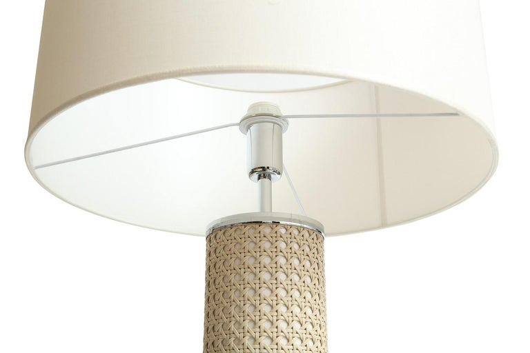 Riviere Italy Enameled Ivory Cylindrical Lamp covered with hand braided leather. Made in Italy.  Dimensions: 20