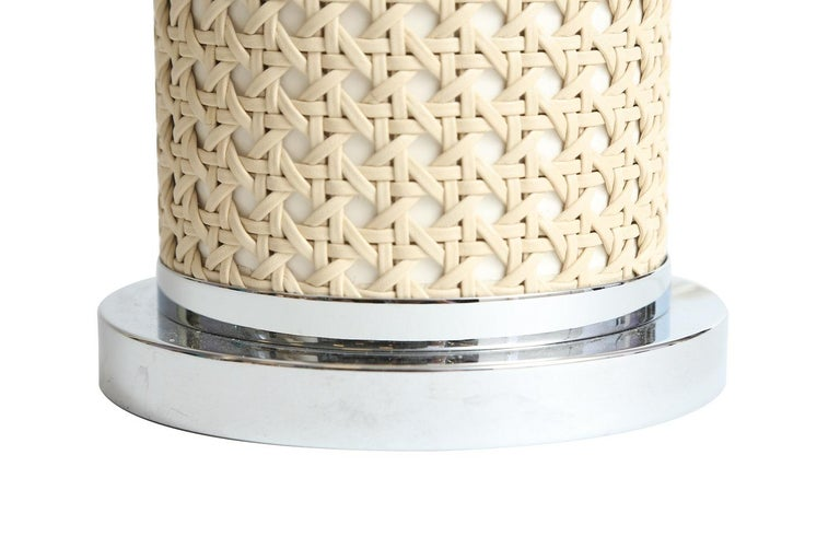 Modern Riviere Italy Enameled Ivory Cylindrical Lamp covered with hand braided leather For Sale