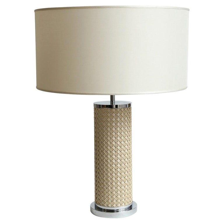 Riviere Italy Enameled Ivory Cylindrical Lamp covered with hand braided leather For Sale