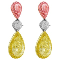 CJ Charles Pear Shaped Fancy Light Pink & Fancy Yellow Earrings GIA Certified