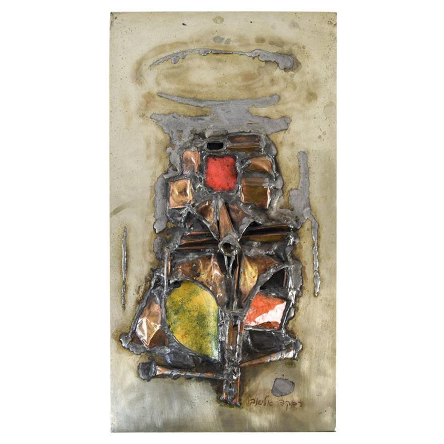 Rivka Eliav, Abstract Enameled Metal Work Relief Plaque