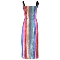 Rixo zara rainbow striped sequin dress XS