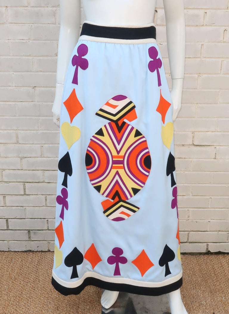Women's Rizkallah for Malcom Starr Attributed Playing Cards Maxi Skirt, C.1970 For Sale