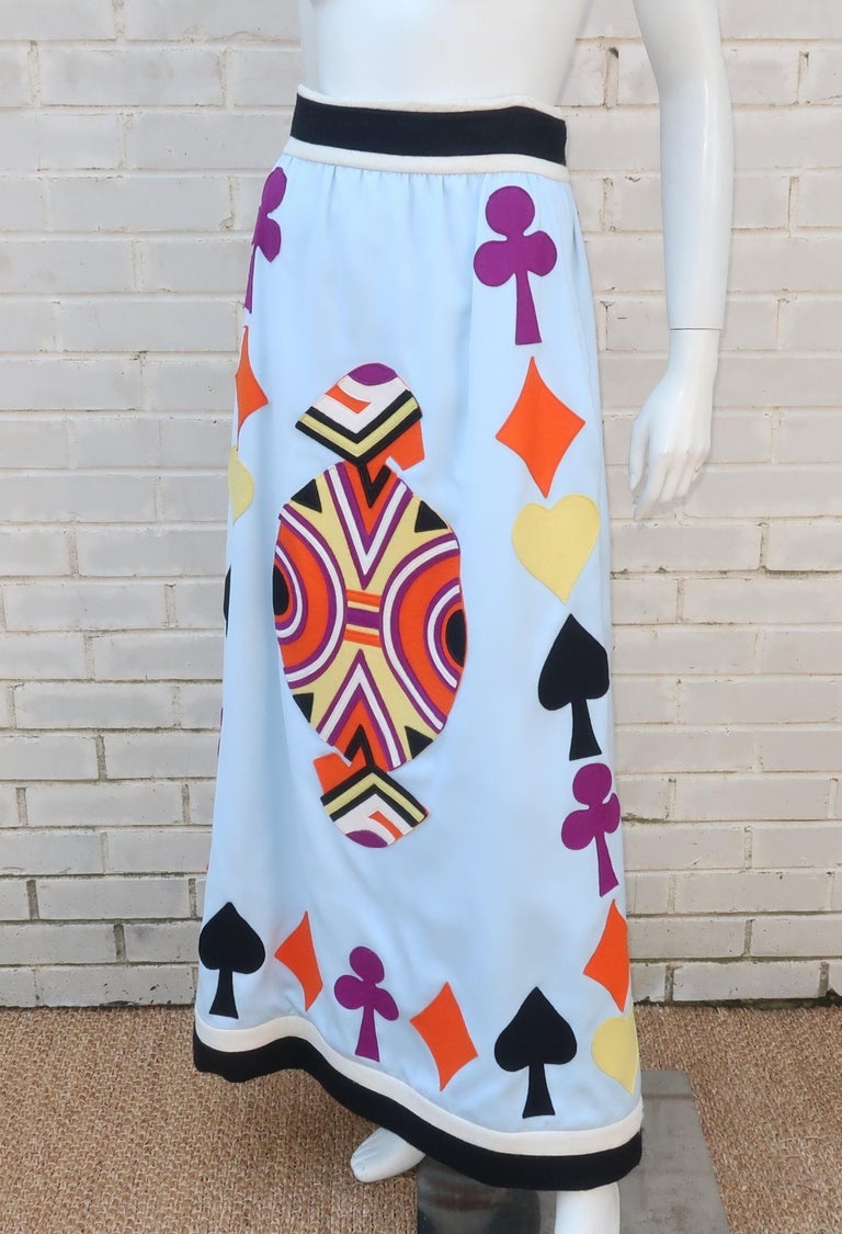 Rizkallah for Malcom Starr Attributed Playing Cards Maxi Skirt, C.1970 For Sale 3