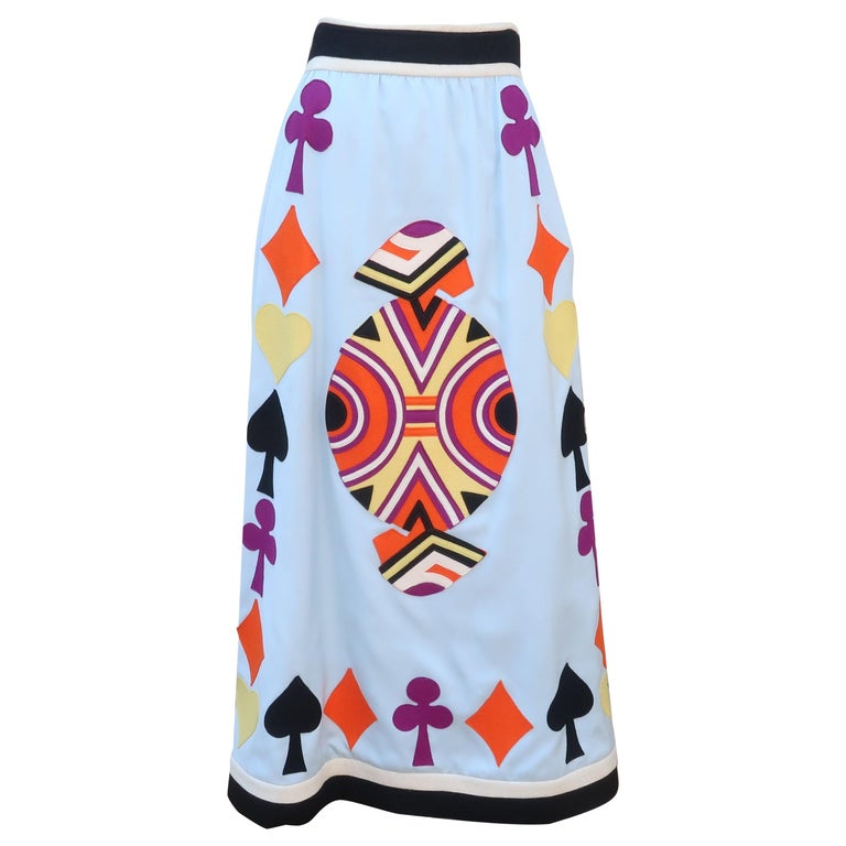Rizkallah for Malcom Starr Attributed Playing Cards Maxi Skirt, C.1970 For Sale