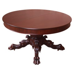 R.J. Horner Attributed Antique Ornate Carved Mahogany Extension Dining Table