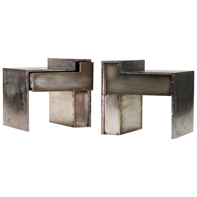 RLB BST Silvered Brass and Gunmetal Bedside Table Set For Sale
