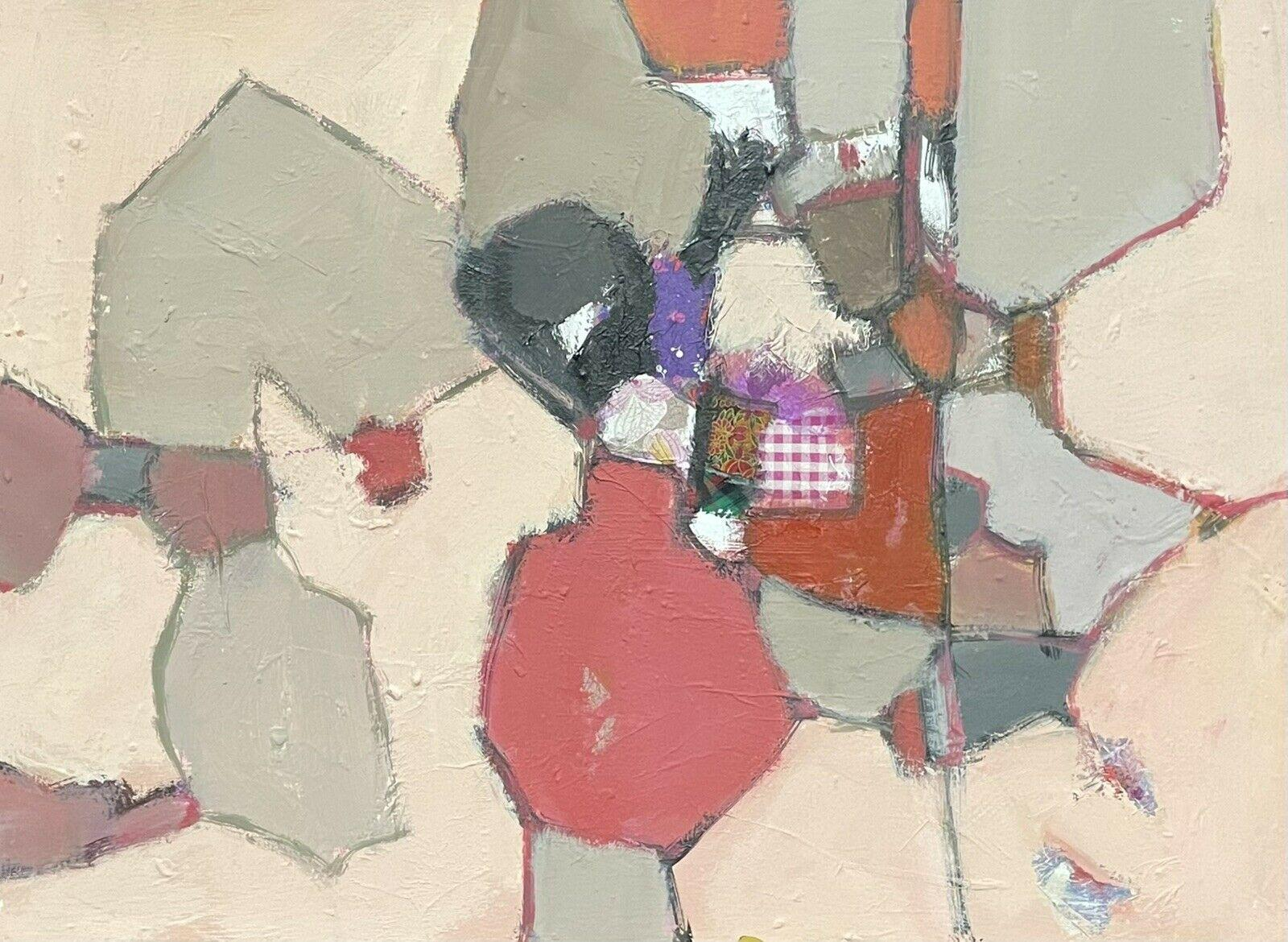 LEROY - FRENCH CONTEMPORARY ABSTRACT CUBIST PAINTING WITH COLLAGE
