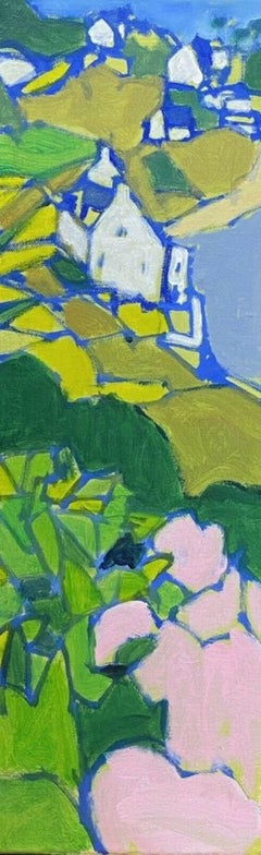 LEROY - FRENCH CONTEMPORARY CUBIST PAINTING - GREEN PINK & BLUES LANDSCAPE