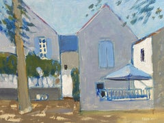LEROY - FRENCH CONTEMPORARY MODERNIST PAINTING - VILLAGE HOUSES - MUTED COLORS