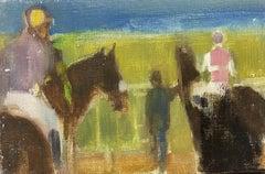 RENE LEROY - FRENCH MODERNIST OIL PAINTING - RACEHORSES/ JOCKEYS IN THE PADDOCK