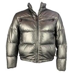 RLX by RALPH LAUREN Size L Silver Metallic Leather High Collar Jacket