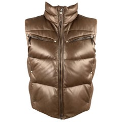 RLX by RALPH LAUREN Size M Brown Quilted Leather Zip Up Down Puff Vest