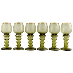 Rømer Glass, Six Bohemian Wine Glasses with Engraved Grapevines