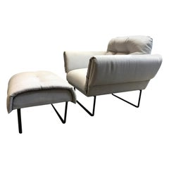 """Ro"" Modernist Armchair with Ottoman in Upholstery and Painted Steel"