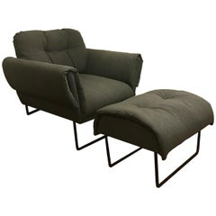 """""""Ro"""" Modernist Armchair with Ottoman in Upholstery and Painted Steel"""