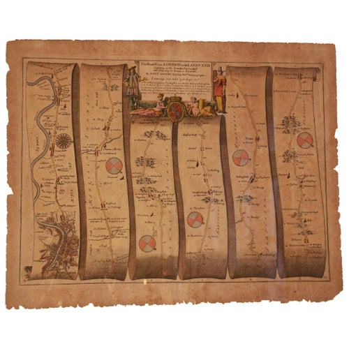 Road map, English, Britannia, No 25,  London to the Lands End, John Ogilby