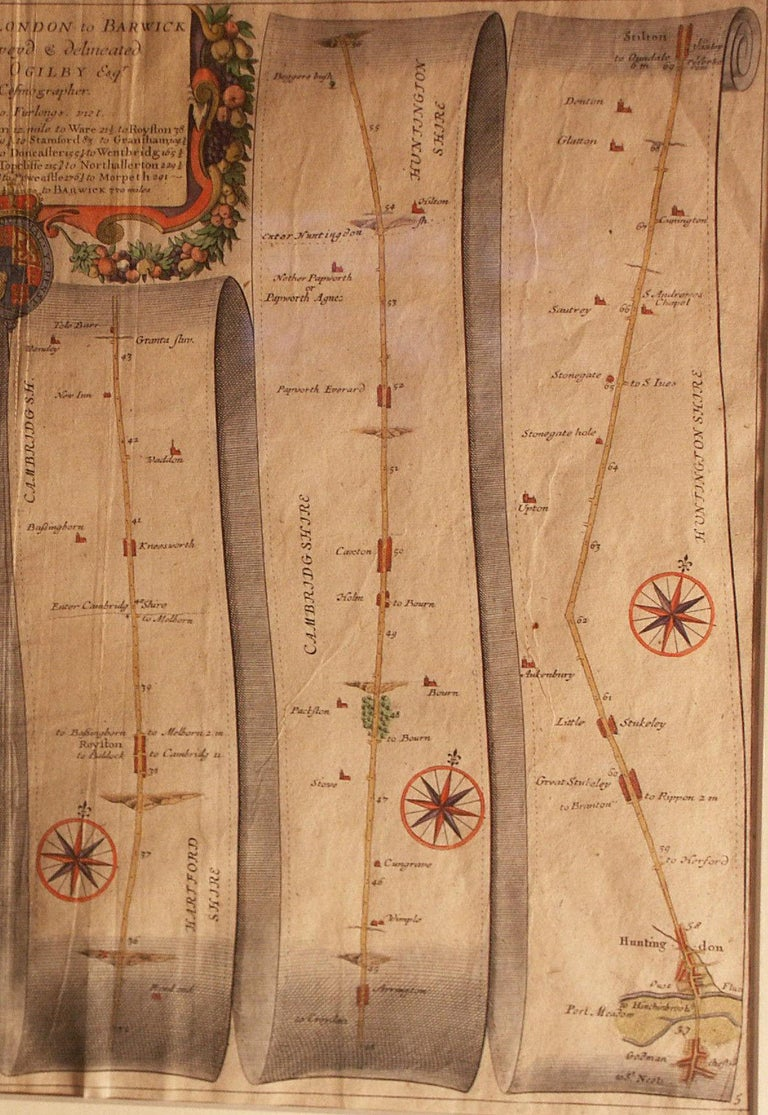 Charles II Road Map, Britannia, 1675/6, No 5, Road London to Barwick, London to Stilton For Sale