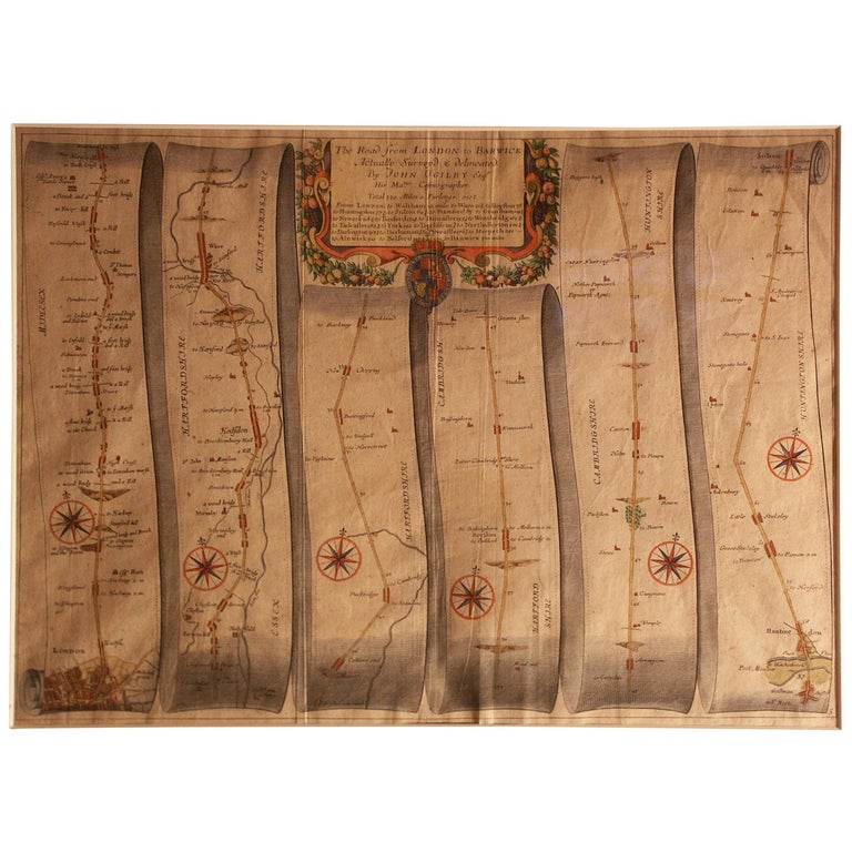 Road Map, Britannia, 1675/6, No 5, Road London to Barwick, London to Stilton For Sale