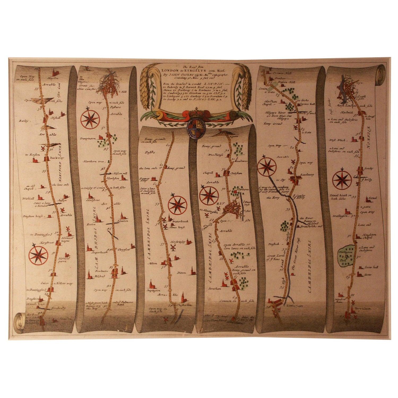 Road Map, from London to Kings Lynn, Royston to Downham, John Ogilby, Britannia